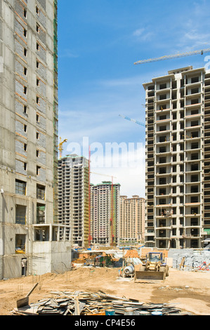 A new apartment construction site next to the Nanhuan Bridge in Datong. - Stock Photo