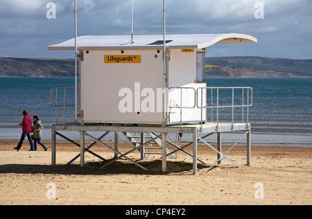 Lifeguards station on Weymouth beach on a stormy April day - Stock Photo