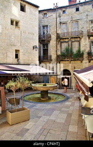 Little square in historical center of Montpellier - Stock Photo