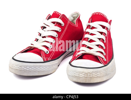 vintage red shoes on white background - Stock Photo