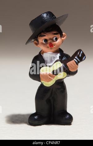Spain, Madrid, souvenir miniature figurine of Spanish musician - Stock Photo