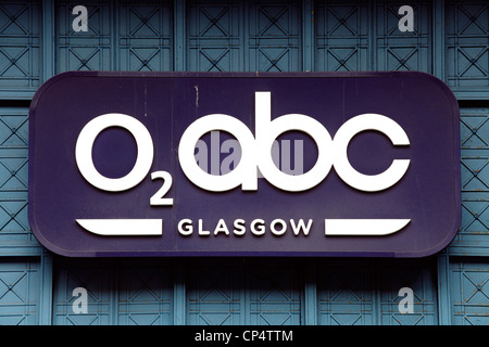 Sign on the outside of the O2 abc music venue on Sauchiehall Street Glasgow Scotland UK - Stock Photo