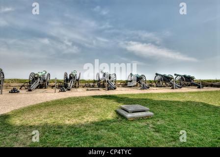 Cannons at renaissance Kronborg castle in Helsingor, Denmark. - Stock Photo
