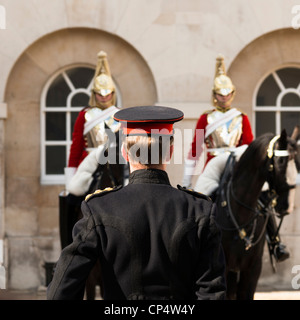 Queen's Life Guards at Horse Guards,London,England - Stock Photo