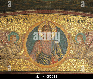 Vatican City - St. Peter's Basilica. Vatican Grottoes, the tomb of Pope Pius XI. Detail of mosaic niche with Christ - Stock Photo