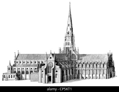 17th Century predecessor of St Paul's Cathedral, a cathedral in London, England, United Kingdom - Stock Photo