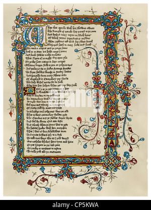 the beginning of the Canterbury Tales by Geoffrey Chaucer, Ellesmere Manuscript, 15th Centur - Stock Photo