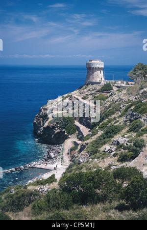 TUSCANY Capraia Capraia BAY HARBOUR AND TOWER - Stock Photo
