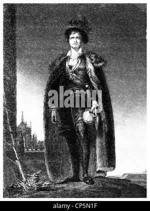Charles Kemble, 1775 - 1854, a British actor, here as Hamlet, - Stock Photo