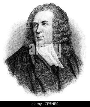 portrait of Edward Young, 1681 - 1765, an English writer, - Stock Photo