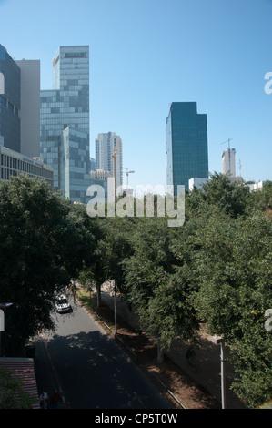Elevated view of Rothschild Boulevard, Tel Aviv, Israel - Stock Photo