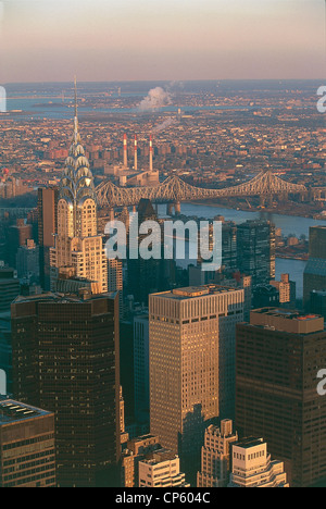 United States of America State of New York New York Manhattan view of Empire State Building, Chrysler Building to - Stock Photo