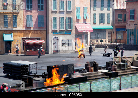 Man on fire stunt at  Action, lights, motors show, Disney's Hollywood Studios - Stock Photo