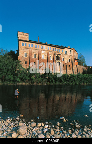 LOMBARDY Cassano d'Adda BORROMEO CASTLE AND RIVER ADDA - Stock Photo
