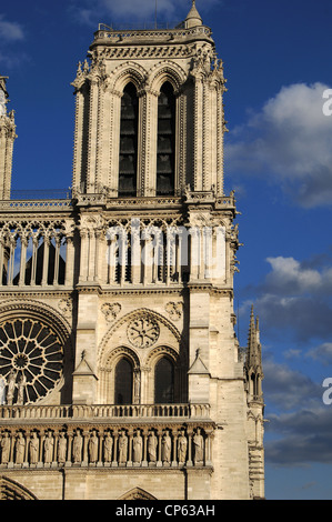 France. Paris. Notre Dame Cathedral. 12th - 14th centuries. West front. Tower. - Stock Photo