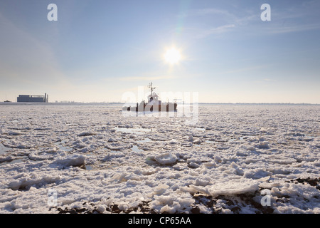 Germany, Hamburg, View of ice covered River Elbe - Stock Photo
