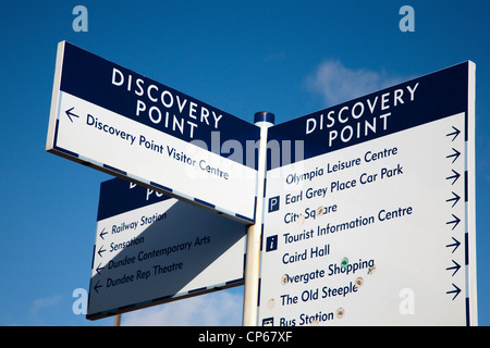 Tourist Signpost at Discovery Point Dundee Scotland - Stock Photo