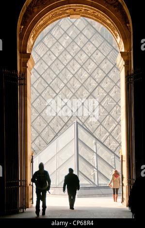 I.M. Pei pyramid at the Louvre Museum Paris France - Stock Photo