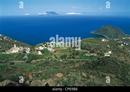 Sicily - Aeolian Islands - Island Nature Reserve Orientatata Filicudi - Valley Church and Capo Graziano. - Stock Photo