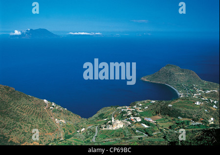 Sicily Aeolian Islands Island Nature Reserve Filicudi. Valley Church and Capo Graziano, in the background the island - Stock Photo