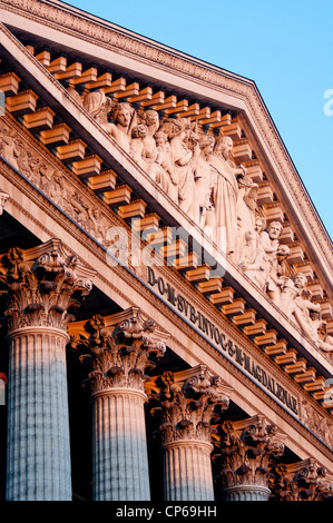 Pediment of Eglise de la Madeleine church built in 19C in Neo Classical style in 8th arondissement Paris France - Stock Photo