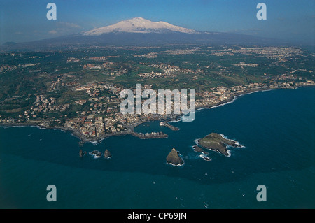 Sicily - Acitrezza (Ct) and the stacks. Aerial view. - Stock Photo