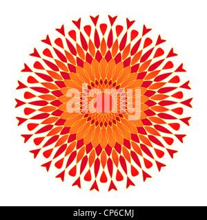Artistic flower mandala design in orange and red - Stock Photo