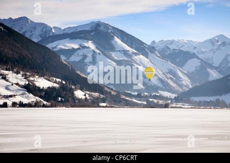 Hot Air Balloon Over Lake Zell, Zell Am See, Austria - Stock Photo