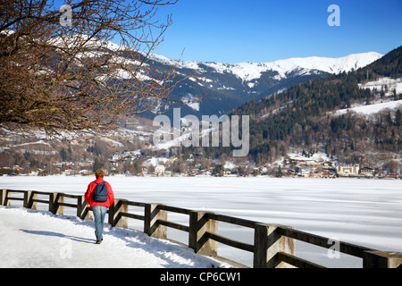 Walking by the lake in Zell Am See. Austria. - Stock Photo