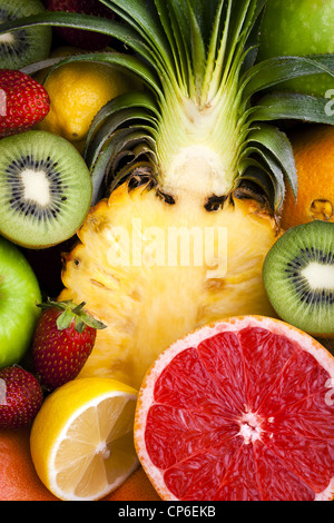 Variety of Fruit - Sliced and Whole - Stock Photo