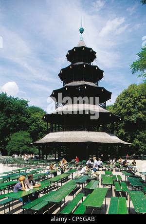 GERMANY MUNICH MONACO Englischer Garten Englischer Garten Chinese Tower beer garden - Stock Photo
