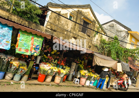 Horizontal view of traditional flower stalls at market in Hoi An Old Town, Vietnam. - Stock Photo