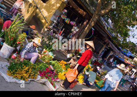 Horizontal view of traditional flower stalls at market in Hoi An Old Town. - Stock Photo