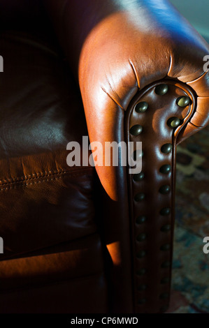 Close up photograph of sunlight on a fine leather recliner seat - Stock Photo