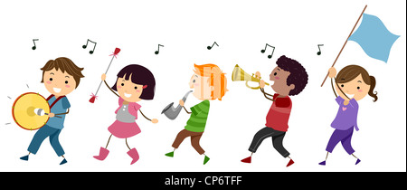 Illustration of a Marching Band Composed of Kids - Stock Photo