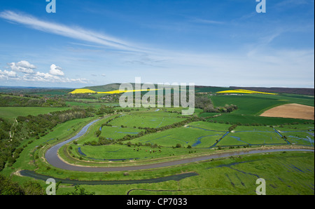 The River Cuckmere running through the Cuckmere Valley in East Sussex - Stock Photo