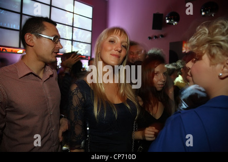 Guests in the Nine Club, Warsaw, Poland - Stock Photo