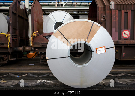 Delivery of rolls of sheet steel in the Volkswagen factory in Wolfsburg, Germany - Stock Photo