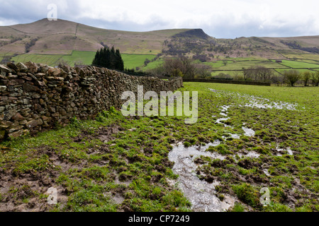 Wet land. A waterlogged field on farmland after days of rain, Nether Booth, Derbyshire, Peak District, England, - Stock Photo