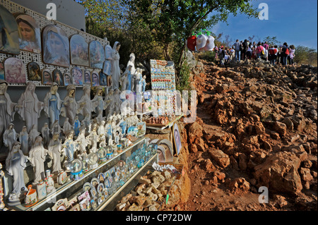 Europe Medjugorje Bosnia Herzegovina religious items at the beginning of Apparition Hill - Stock Photo