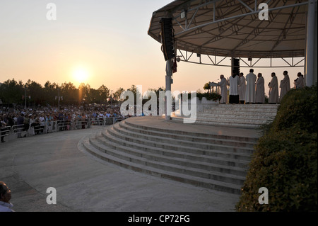 Europe Bosnia and Herzegovina Medjugorje Marian Shrine Church of Sy James Square of the Masses - Stock Photo