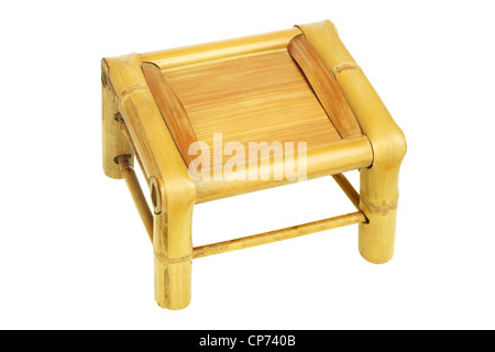 Elevated View of Chinese Bamboo Stool on White Background - Stock Photo