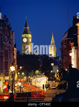 Looking down Whitehall from Trafalgar Square, with Big Ben and the Houses of Parliament beyond. London, England - Stock Photo