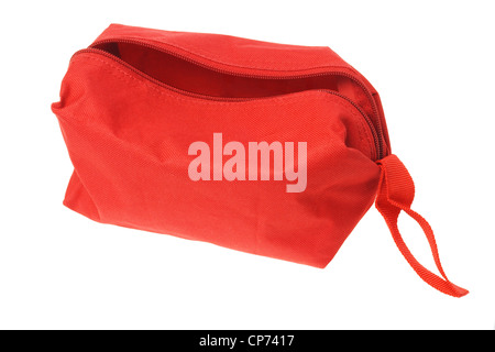 Open Red Hand Bag on White Background - Stock Photo