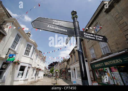 Signpost to tourist attractions in Corsham High Street - Stock Photo