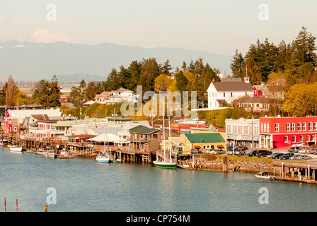 waterfront along the Swinomish Channel in La Conner in Skagit Valley Washington State Pacific Northwest USA - Stock Photo