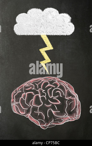 Illustration of a human brain, a cloud and a lightning bolt in chalk on a blackboard. Concept image - Stock Photo