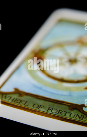 'Wheel of Fortune' from a deck of Tarot Cards - Stock Photo