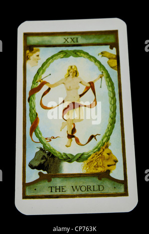 'The World' card from a deck of Tarot Cards - Stock Photo