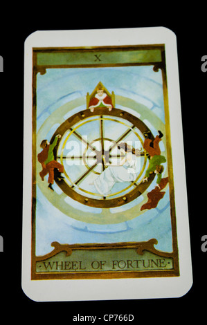 'Wheel of Fortune' card from a deck of Tarot Cards - Stock Photo
